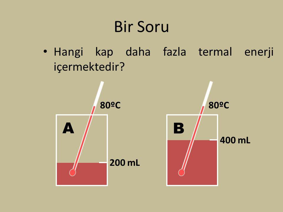 Bir Soru Hangi kap daha fazla termal enerji içermektedir? 200 mL 80ºC A 400 mL 80ºC B