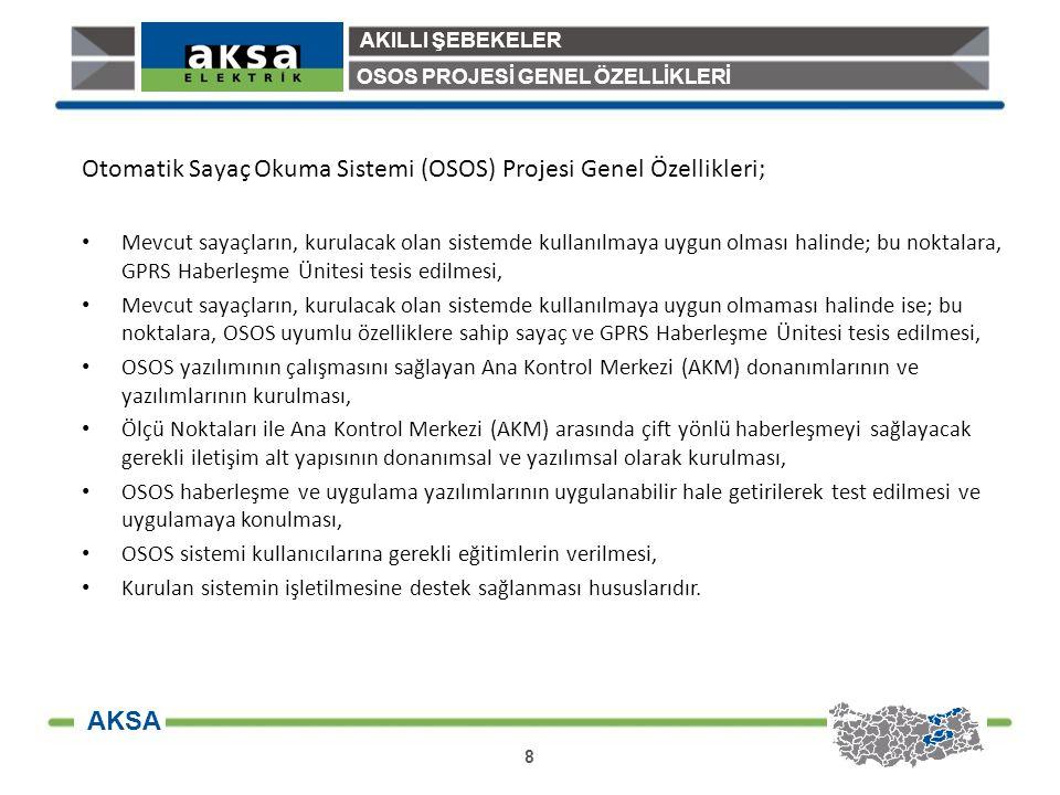 AKILLI ŞEBEKELER 9 AKSA OSOS PROJESİ BAŞLANGIÇ OSOS Projesi Gelişim Süreci (Başlangıç) Öncelikli olarak, Dengele ve Uzlaştırma Yönetmeliği gereğince yıllık tüketimi 800 MWh olan tüketiciler ile yine şirketimizin EPDK'ya yaptığı öneri ile yıllık tüketimi 200 MWh ve üzerinde olan tüketicilerin sayaçlarının OSOS kapsamında uzaktan okunmasına yönelik OSOS Projesine 2012 yılı ikinci yarısı itibariyle başlanmıştır.