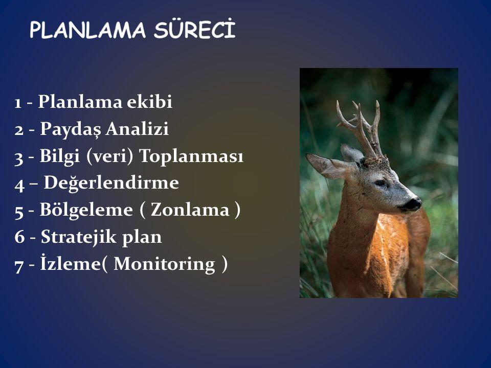 1 - Planlama ekibi 2 - Paydaş Analizi 3 - Bilgi (veri) Toplanması 4 – Değerlendirme 5 - Bölgeleme ( Zonlama ) 6 - Stratejik plan 7 - İzleme( Monitoring )