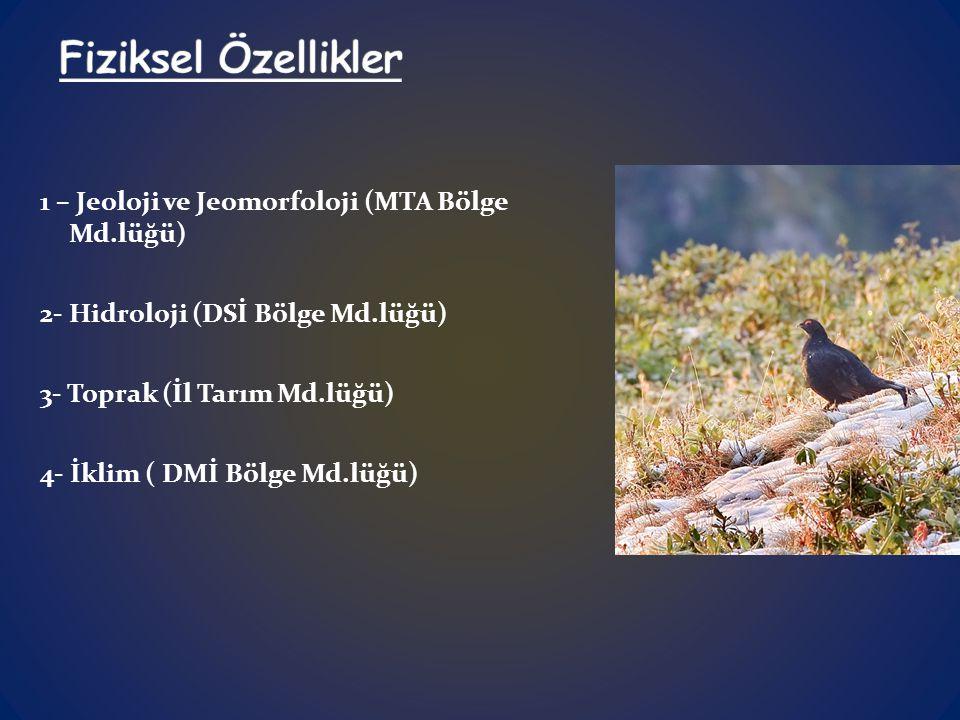 1 – Jeoloji ve Jeomorfoloji (MTA Bölge Md.lüğü) 2- Hidroloji (DSİ Bölge Md.lüğü) 3- Toprak (İl Tarım Md.lüğü) 4- İklim ( DMİ Bölge Md.lüğü)