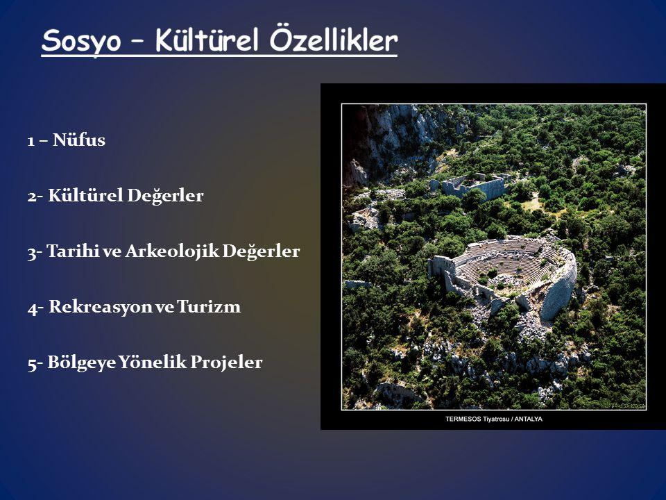 1 – Nüfus 2- Kültürel Değerler 3- Tarihi ve Arkeolojik Değerler 4- Rekreasyon ve Turizm 5- Bölgeye Yönelik Projeler