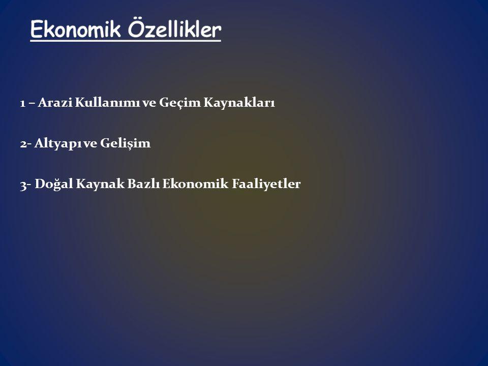 1 – Arazi Kullanımı ve Geçim Kaynakları 2- Altyapı ve Gelişim 3- Doğal Kaynak Bazlı Ekonomik Faaliyetler