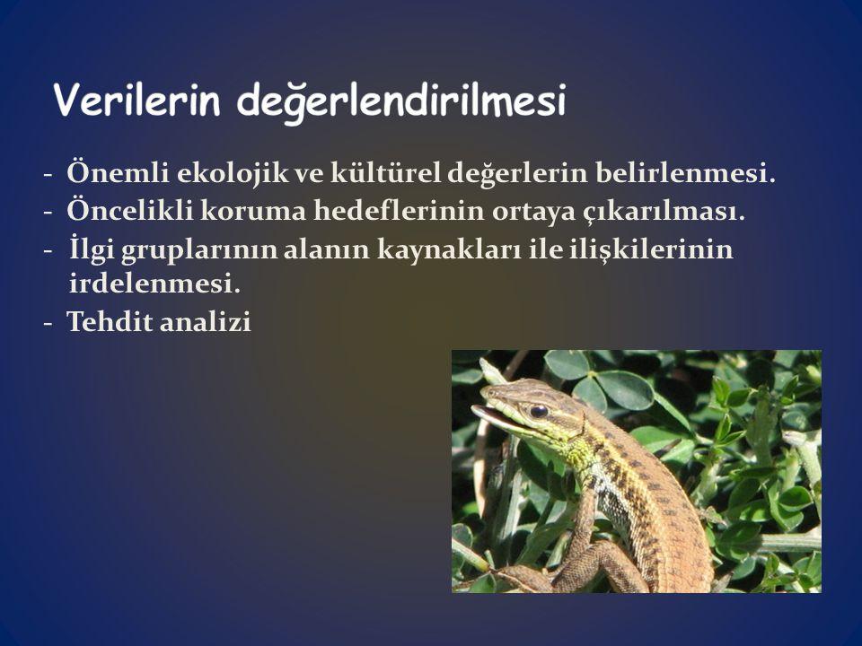 - Önemli ekolojik ve kültürel değerlerin belirlenmesi.