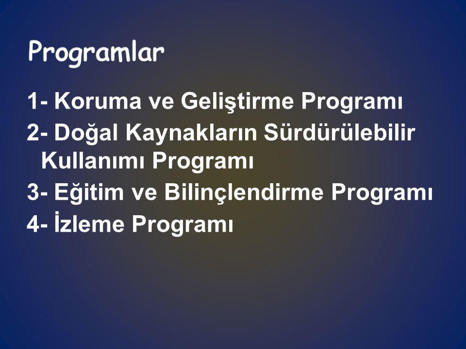 1- Koruma ve Geliştirme Programı 2- Doğal Kaynakların Sürdürülebilir Kullanımı Programı 3- Eğitim ve Bilinçlendirme Programı 4- İzleme Programı