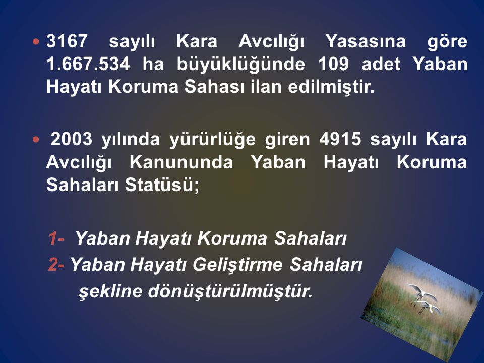 3167 sayılı Kara Avcılığı Yasasına göre 1.667.534 ha büyüklüğünde 109 adet Yaban Hayatı Koruma Sahası ilan edilmiştir.