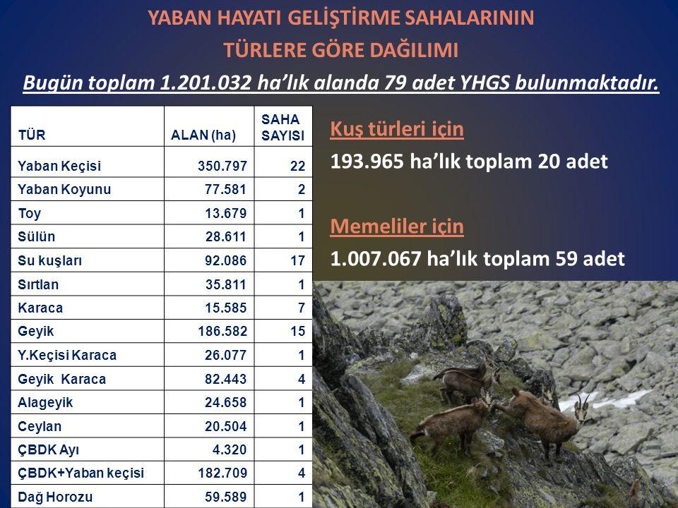 YABAN HAYATI GELİŞTİRME SAHALARININ TÜRLERE GÖRE DAĞILIMI Bugün toplam 1.201.032 ha'lık alanda 79 adet YHGS bulunmaktadır.
