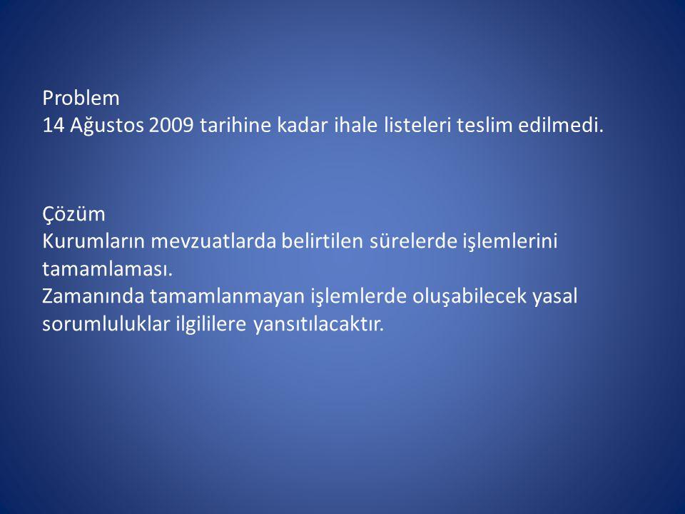 Problem 14 Ağustos 2009 tarihine kadar ihale listeleri teslim edilmedi.