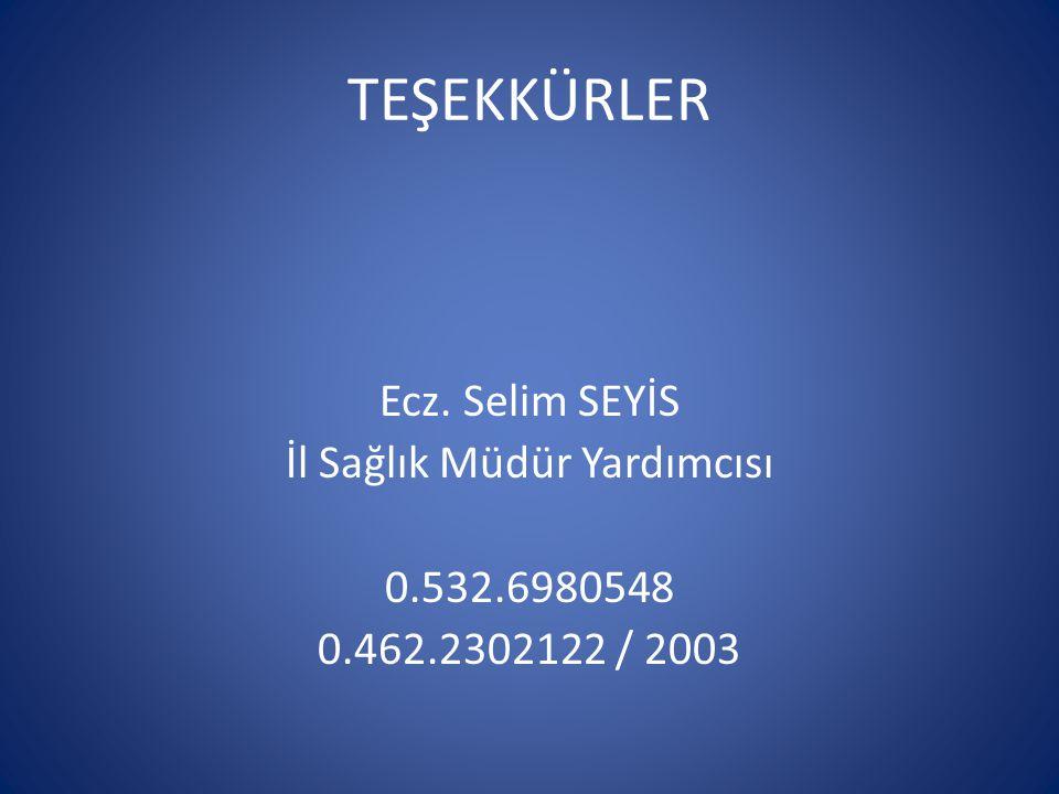 TEŞEKKÜRLER Ecz. Selim SEYİS İl Sağlık Müdür Yardımcısı 0.532.6980548 0.462.2302122 / 2003