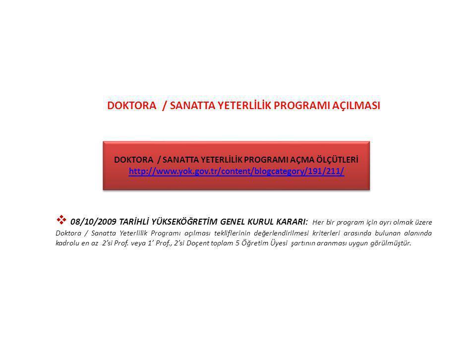 DOKTORA / SANATTA YETERLİLİK PROGRAMI AÇILMASI  08/10/2009 TARİHLİ YÜKSEKÖĞRETİM GENEL KURUL KARARI: Her bir program için ayrı olmak üzere Doktora /