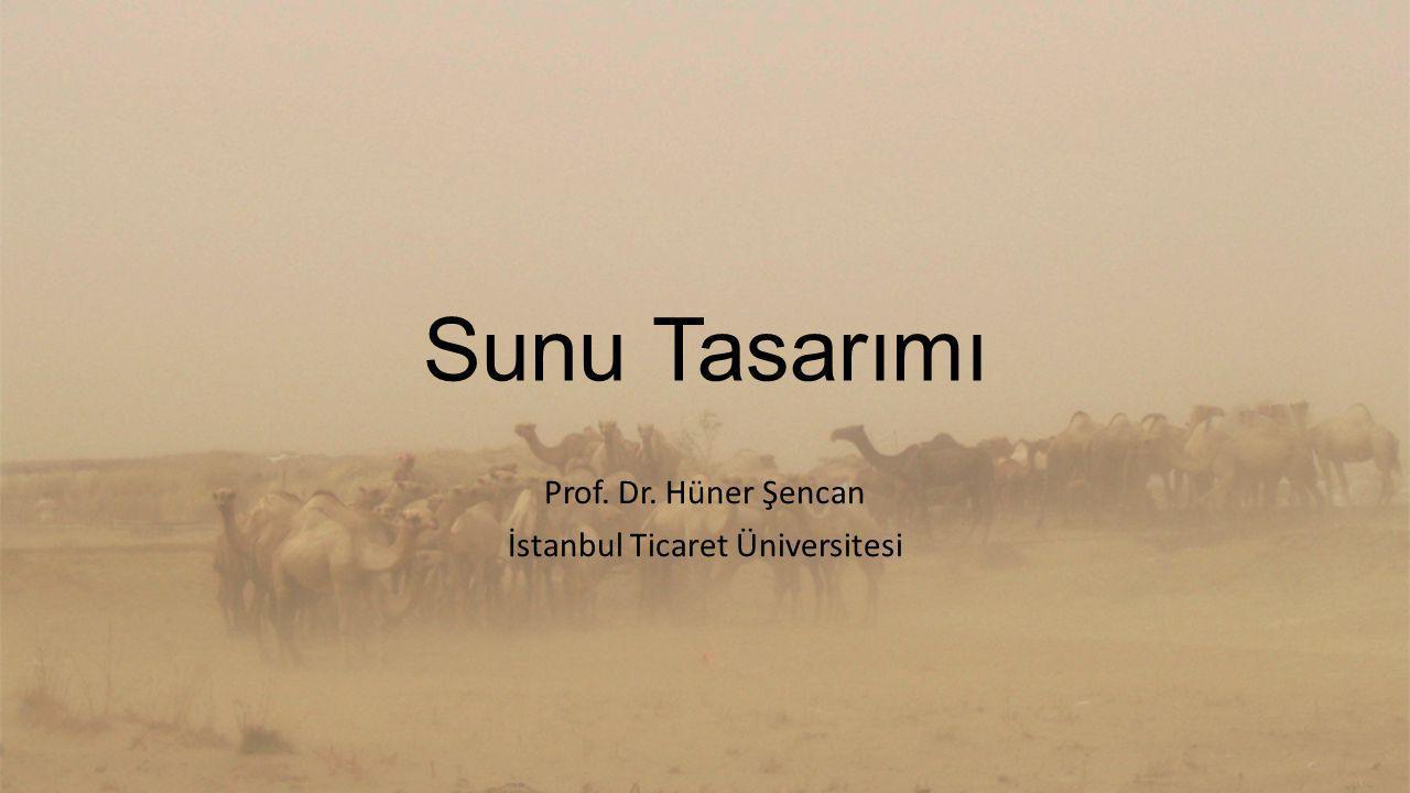 Sunu Tasarımı Prof. Dr. Hüner Şencan İstanbul Ticaret Üniversitesi