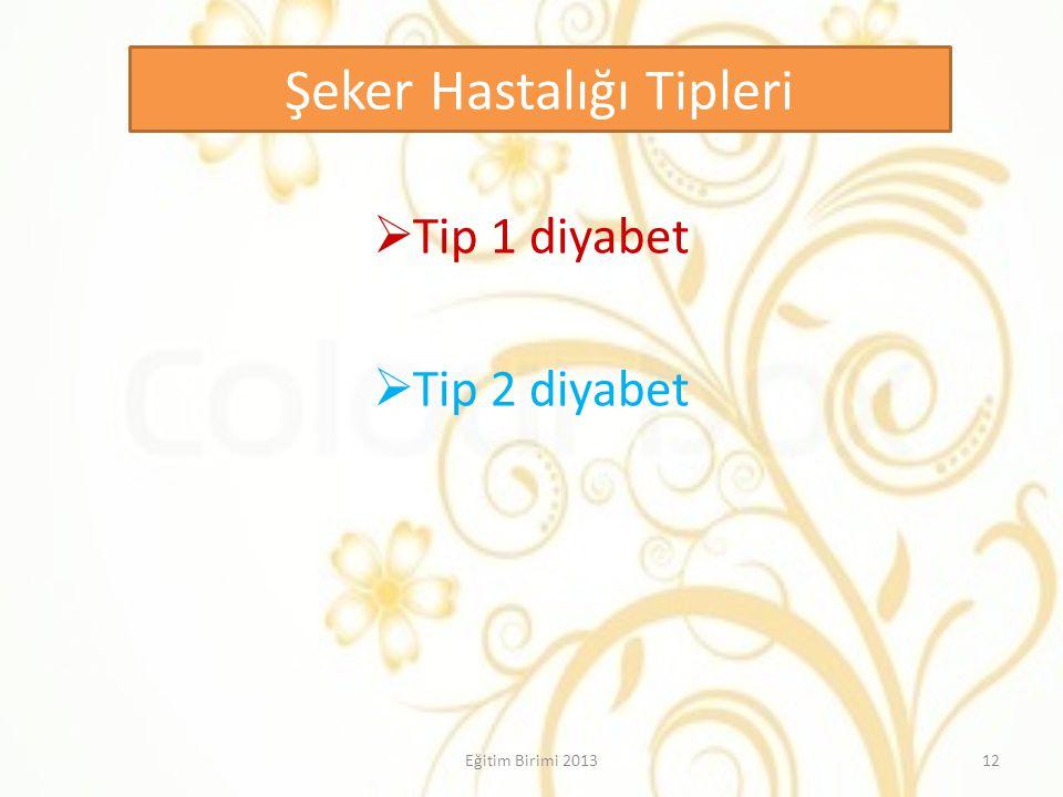 Şeker Hastalığı Tipleri  Tip 1 diyabet  Tip 2 diyabet 12Eğitim Birimi 2013
