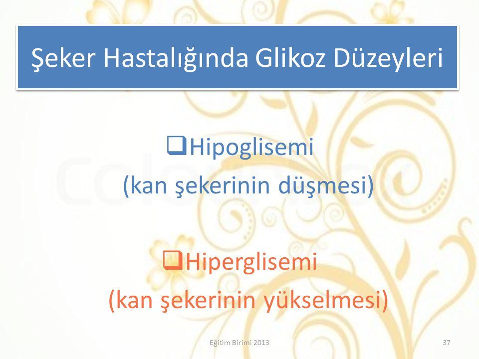 Şeker Hastalığında Glikoz Düzeyleri  Hipoglisemi (kan şekerinin düşmesi)  Hiperglisemi (kan şekerinin yükselmesi) 37Eğitim Birimi 2013