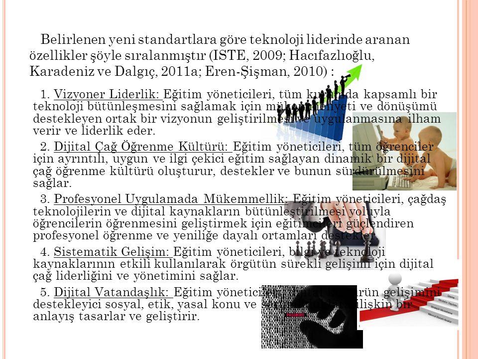 Belirlenen yeni standartlara göre teknoloji liderinde aranan özellikler şöyle sıralanmıştır (ISTE, 2009; Hacıfazlıoğlu, Karadeniz ve Dalgıç, 2011a; Er