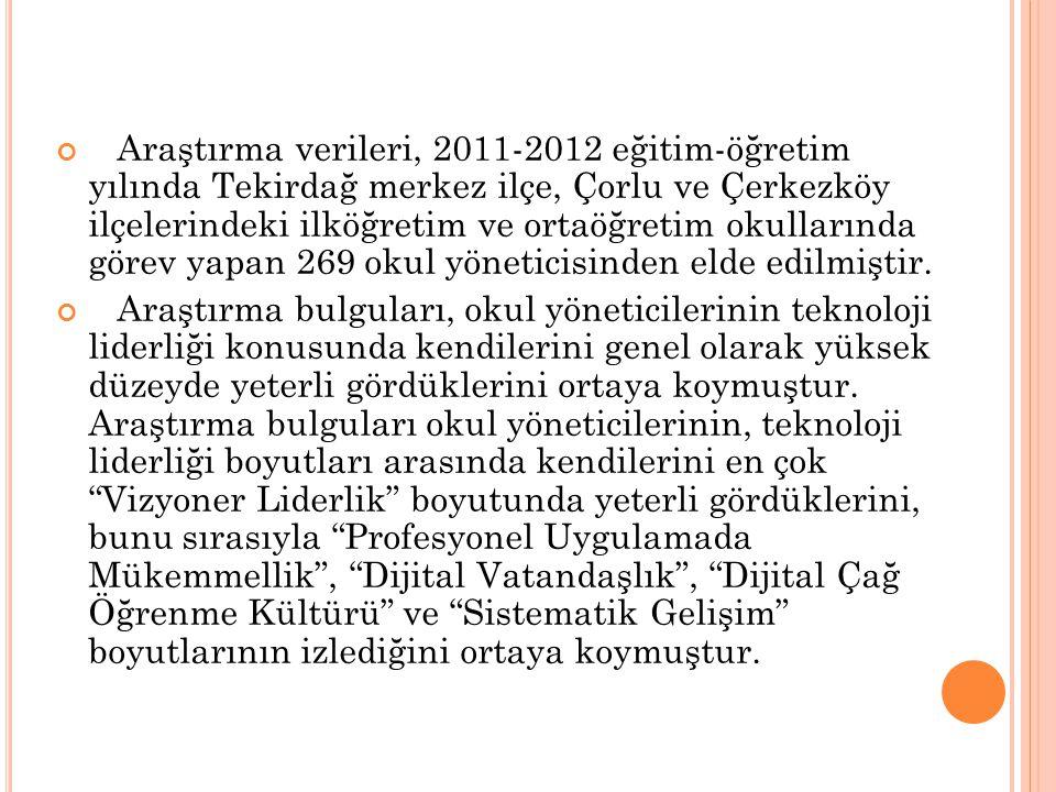 Araştırma verileri, 2011-2012 eğitim-öğretim yılında Tekirdağ merkez ilçe, Çorlu ve Çerkezköy ilçelerindeki ilköğretim ve ortaöğretim okullarında göre