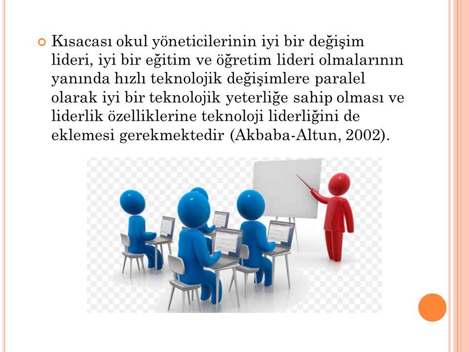 Kısacası okul yöneticilerinin iyi bir değişim lideri, iyi bir eğitim ve öğretim lideri olmalarının yanında hızlı teknolojik değişimlere paralel olarak