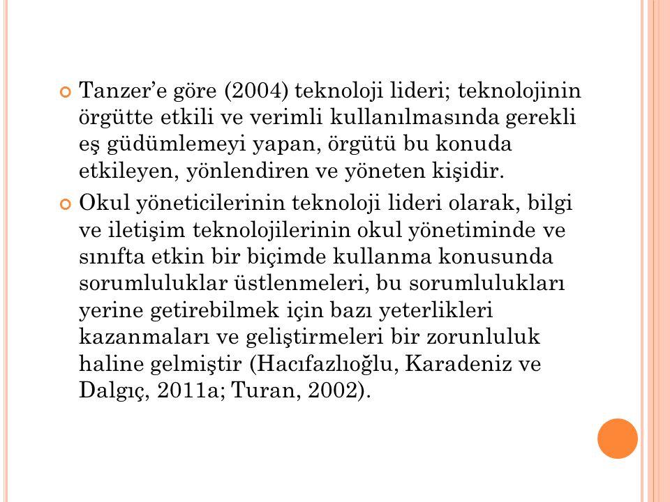 Tanzer'e göre (2004) teknoloji lideri; teknolojinin örgütte etkili ve verimli kullanılmasında gerekli eş güdümlemeyi yapan, örgütü bu konuda etkileyen