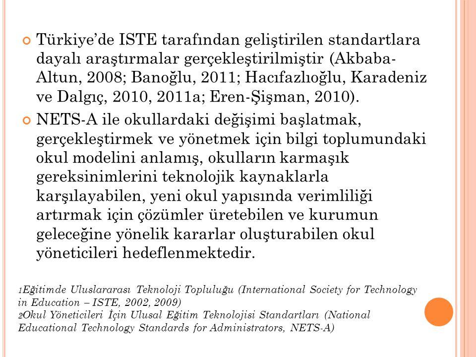 Türkiye'de ISTE tarafından geliştirilen standartlara dayalı araştırmalar gerçekleştirilmiştir (Akbaba- Altun, 2008; Banoğlu, 2011; Hacıfazlıoğlu, Kara