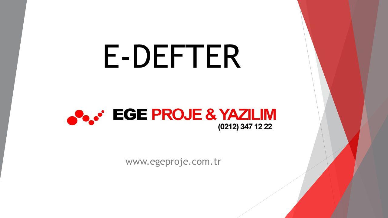 E-defter uygulaması ile  Vergi Usul Kanunu ve Türk Ticaret Kanunu gereğince zorunlu defterler (ilk aşamada yevmiye defteri ile büyük defter), duyurulan format ve standartlara uygun biçimde elektronik ortamda kaydedilmektedir.