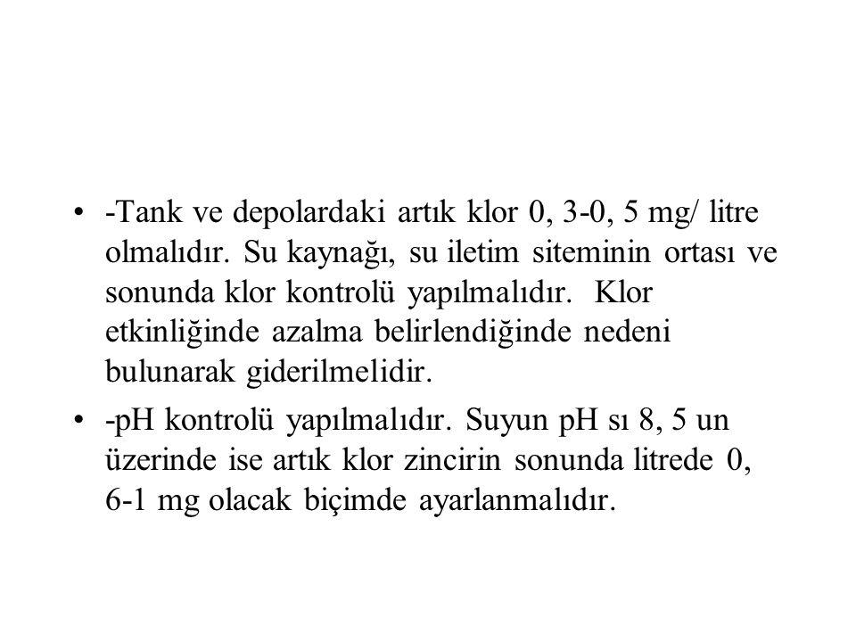 -Tank ve depolardaki artık klor 0, 3-0, 5 mg/ litre olmalıdır.