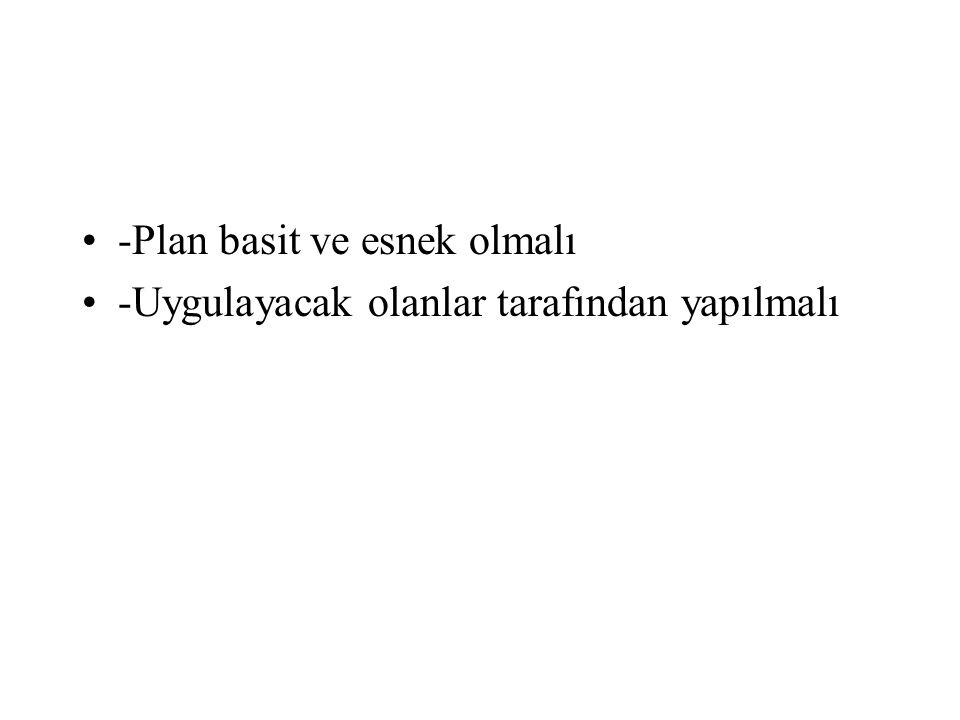 -Plan basit ve esnek olmalı -Uygulayacak olanlar tarafından yapılmalı