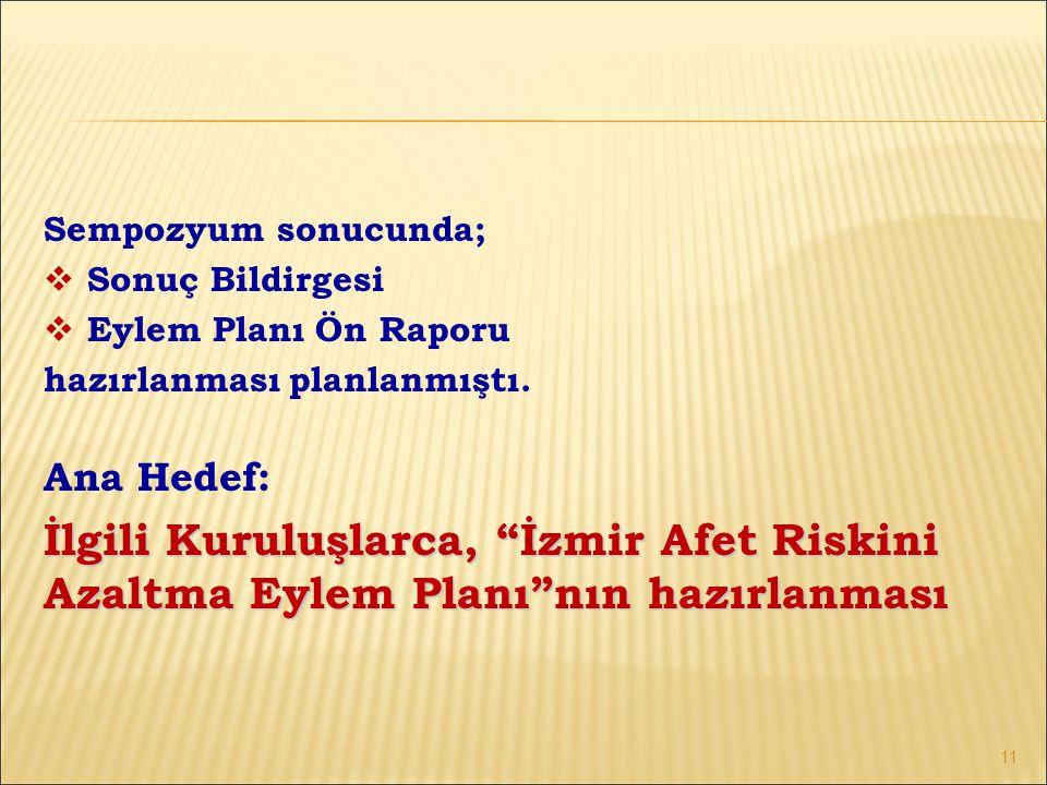 Sempozyum sonucunda;  Sonuç Bildirgesi  Eylem Planı Ön Raporu hazırlanması planlanmıştı.
