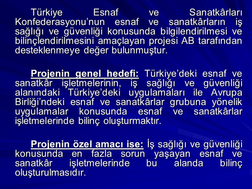Türkiye Esnaf ve Sanatkârları Konfederasyonu'nun esnaf ve sanatkârların iş sağlığı ve güvenliği konusunda bilgilendirilmesi ve bilinçlendirilmesini amaçlayan projesi AB tarafından desteklenmeye değer bulunmuştur.