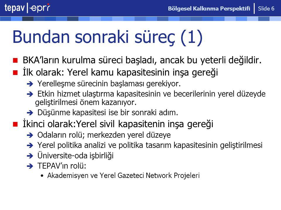 Bölgesel Kalkınma Perspektifi Slide 6 Bundan sonraki süreç (1) BKA'ların kurulma süreci başladı, ancak bu yeterli değildir.