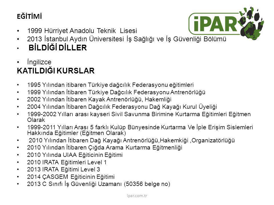 EĞİTİMİ 1999 Hürriyet Anadolu Teknik Lisesi 2013 İstanbul Aydın Üniversitesi İş Sağlığı ve İş Güvenliği Bölümü BİLDİĞİ DİLLER İngilizce KATILDIĞI KURSLAR 1995 Yılından itibaren Türkiye dağcılık Federasyonu eğitimleri 1999 Yılından İtibaren Türkiye Dağcılık Federasyonu Antrenörlüğü 2002 Yılından İtibaren Kayak Antrenörlüğü, Hakemliği 2004 Yılından İtibaren Dağcılık Federasyonu Dağ Kayağı Kurul Üyeliği 1999-2002 Yılları arası kayseri Sivil Savunma Birimine Kurtarma Eğitimleri Eğitmen Olarak 1999-2011 Yılları Arası 5 farklı Kulüp Bünyesinde Kurtarma Ve İple Erişim Sislemleri Hakkında Eğitimler (Eğitmen Olarak) 2010 Yılından İtibaren Dağ Kayağı Antrenörlüğü,Hakemkiği,Organizatörlüğü 2010 Yılından İtibaren Çığda Arama Kurtarma Eğitmenliği 2010 Yılında UIAA Eğiticinin Eğitimi 2010 IRATA Eğitimleri Level 1 2013 IRATA Eğitimi Level 3 2014 ÇASGEM Eğiticinin Eğitimi 2013 C Sınıfı İş Güvenliği Uzamanı (50356 belge no) ipar.com.tr