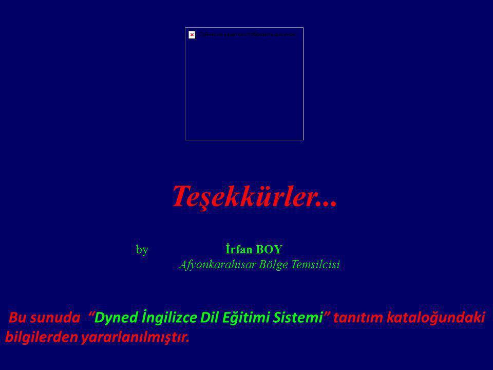 """Teşekkürler... by İrfan BOY Afyonkarahisar Bölge Temsilcisi Bu sunuda """"Dyned İngilizce Dil Eğitimi Sistemi"""" tanıtım kataloğundaki bilgilerden yararlan"""