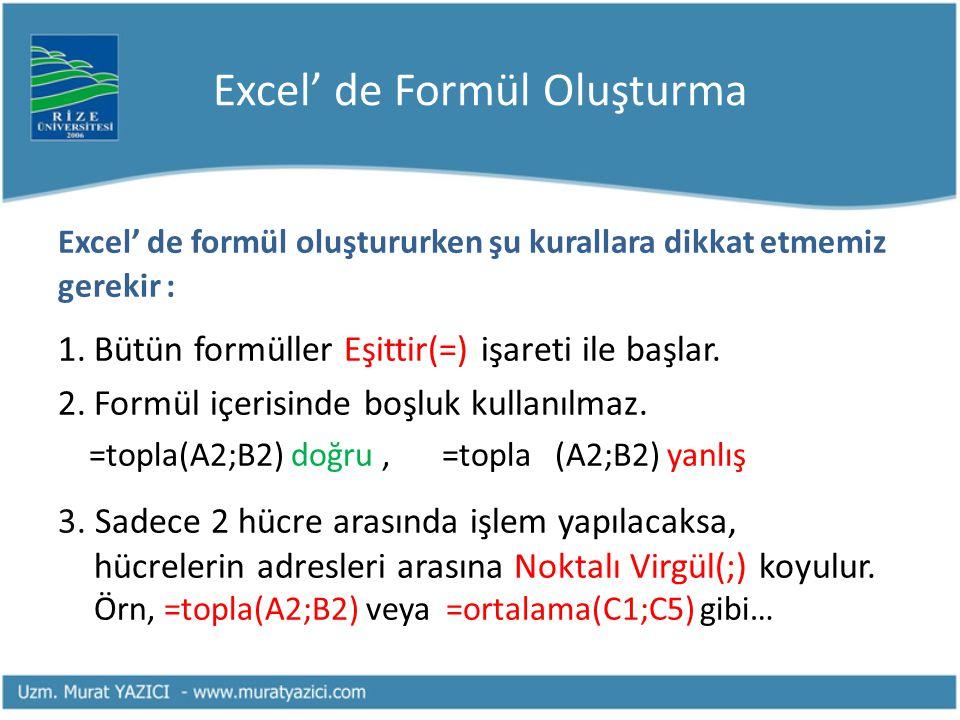 Excel' de Formül Oluşturma Excel' de formül oluştururken şu kurallara dikkat etmemiz gerekir : 1.Bütün formüller Eşittir(=) işareti ile başlar. 2.Form