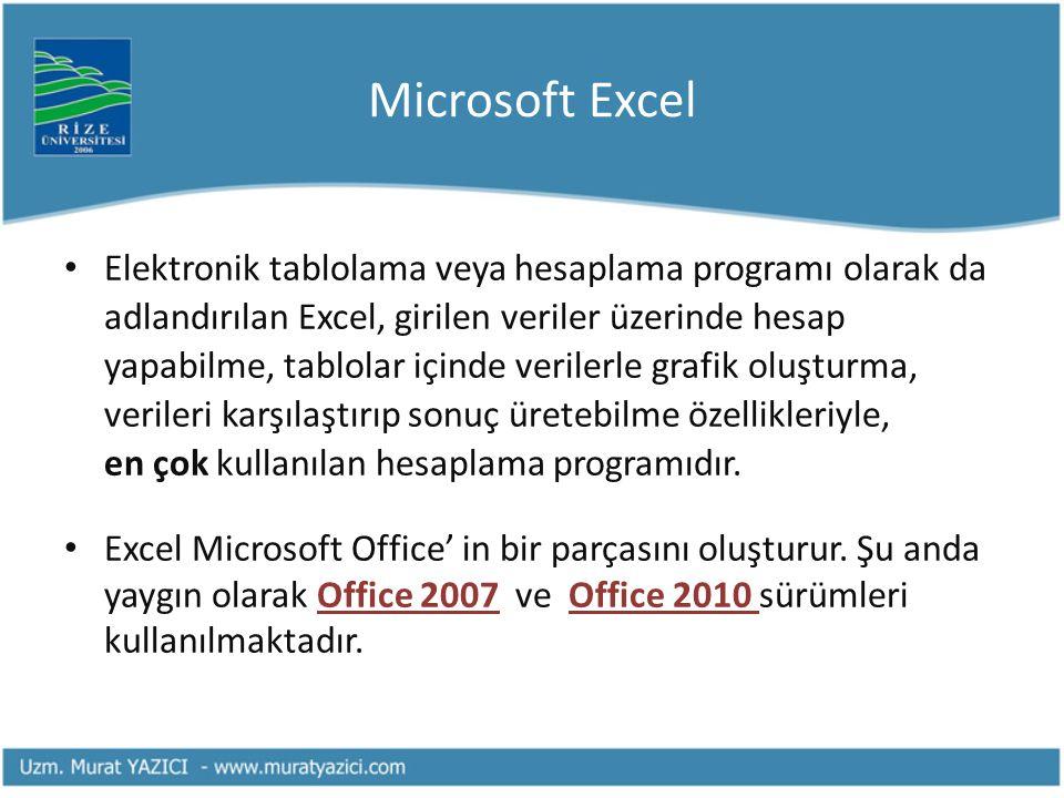Microsoft Excel Elektronik tablolama veya hesaplama programı olarak da adlandırılan Excel, girilen veriler üzerinde hesap yapabilme, tablolar içinde v