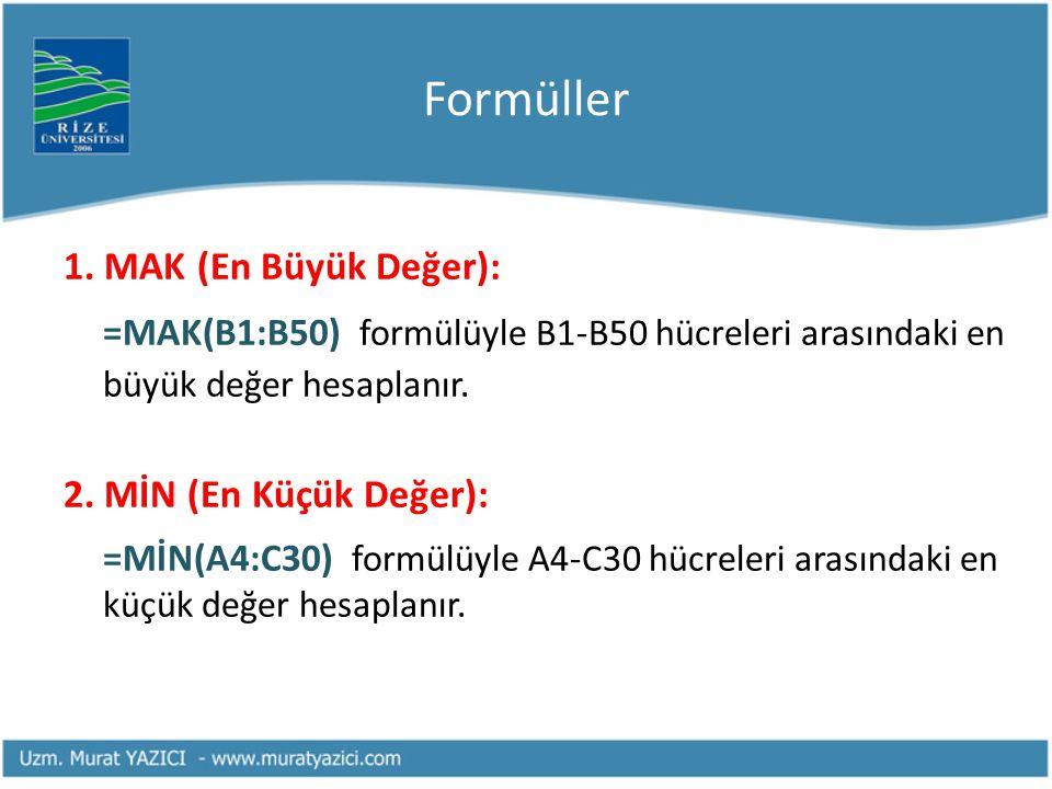 Formüller 1. MAK (En Büyük Değer): =MAK(B1:B50) formülüyle B1-B50 hücreleri arasındaki en büyük değer hesaplanır. 2. MİN (En Küçük Değer): =MİN(A4:C30