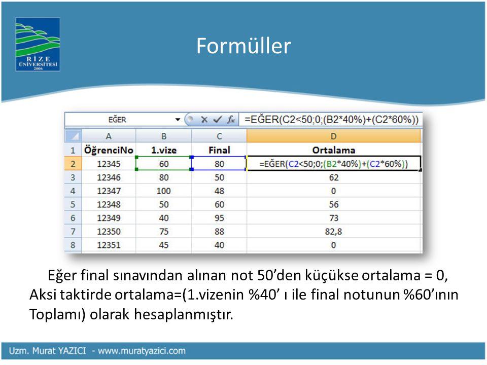 Formüller Eğer final sınavından alınan not 50'den küçükse ortalama = 0, Aksi taktirde ortalama=(1.vizenin %40' ı ile final notunun %60'ının Toplamı) o