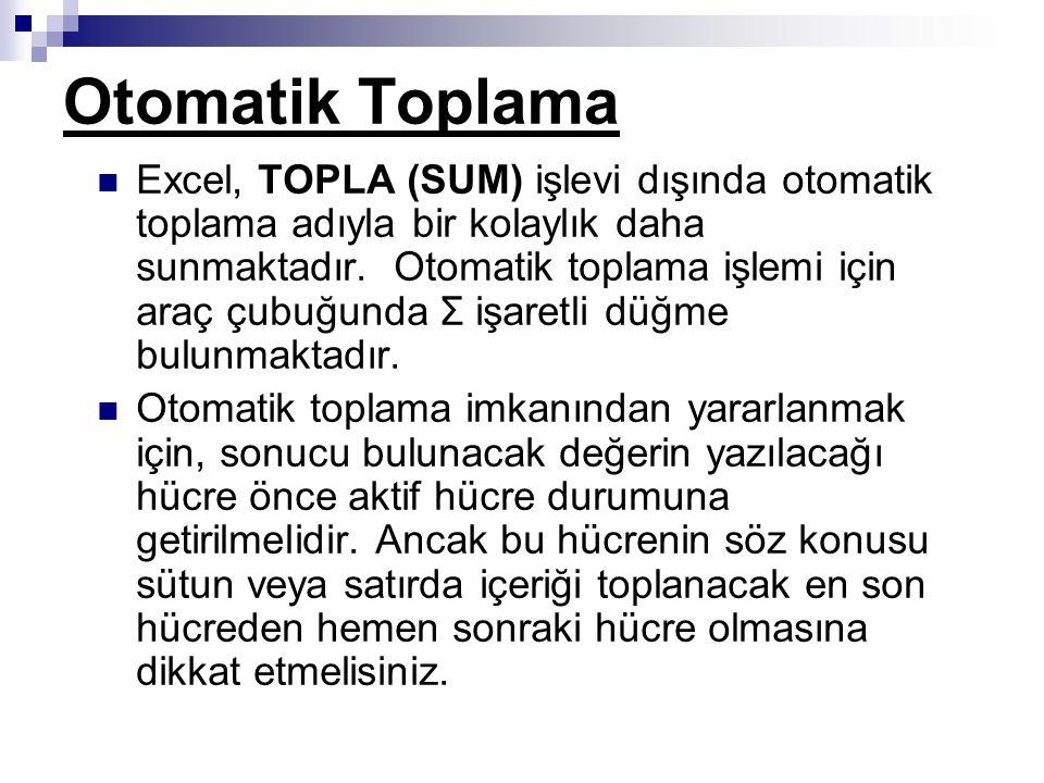 Otomatik Toplama Excel, TOPLA (SUM) işlevi dışında otomatik toplama adıyla bir kolaylık daha sunmaktadır.