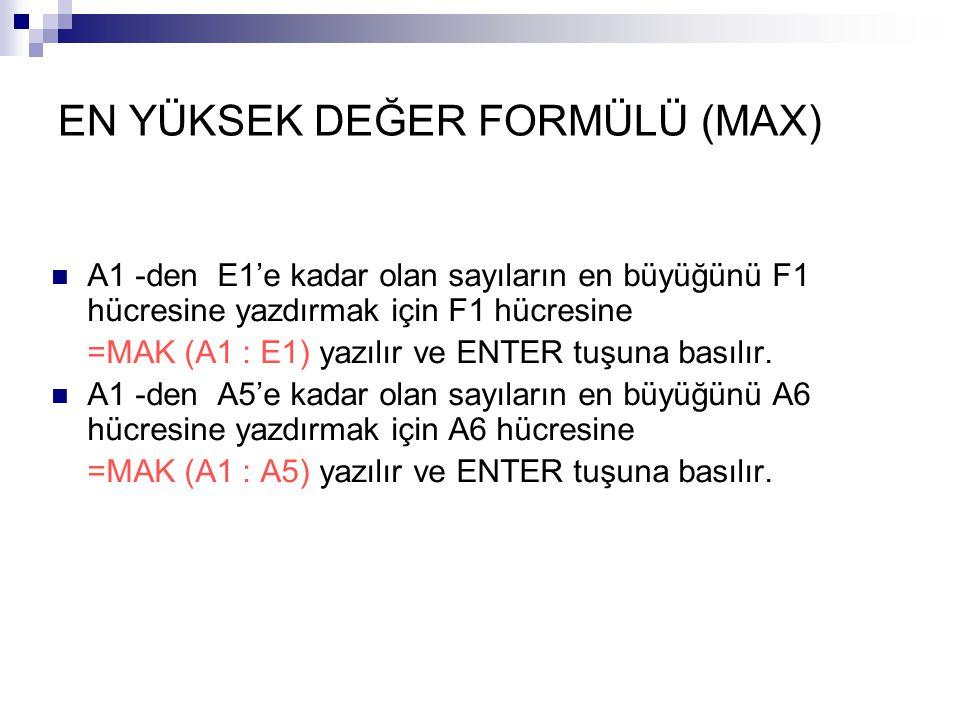 EN YÜKSEK DEĞER FORMÜLÜ (MAX) A1 -den E1'e kadar olan sayıların en büyüğünü F1 hücresine yazdırmak için F1 hücresine =MAK (A1 : E1) yazılır ve ENTER tuşuna basılır.
