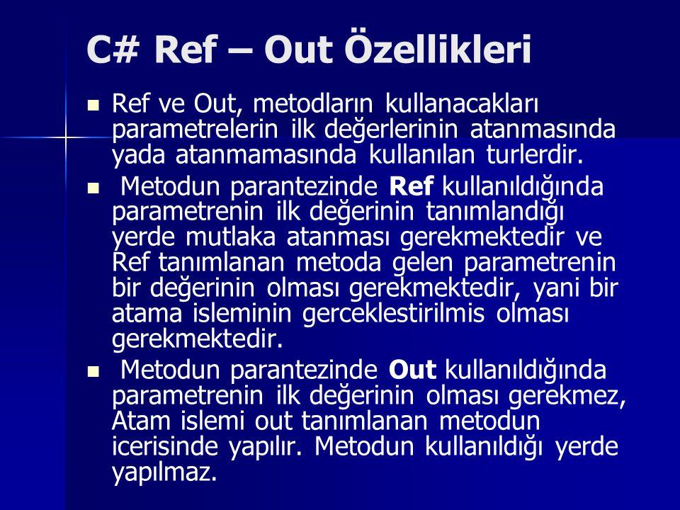 C# Ref – Out Özellikleri Ref ve Out, metodların kullanacakları parametrelerin ilk değerlerinin atanmasında yada atanmamasında kullanılan turlerdir. Me