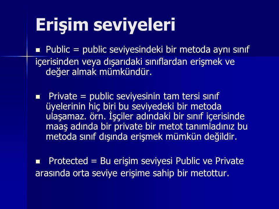 Erişim seviyeleri Public = public seviyesindeki bir metoda aynı sınıf içerisinden veya dışarıdaki sınıflardan erişmek ve değer almak mümkündür. Privat