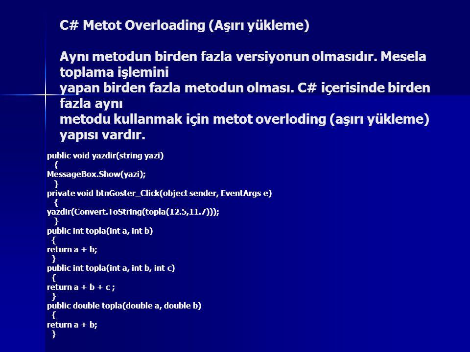 C# Metot Overloading (Aşırı yükleme) Aynı metodun birden fazla versiyonun olmasıdır. Mesela toplama işlemini yapan birden fazla metodun olması. C# içe