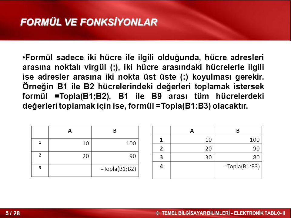 16 / 28 © TEMEL BİLGİSAYAR BİLİMLERİ – ELEKTRONİK TABLO- II FONKSİYONLARLA ÇALIŞMAK Topla ve Çarpım İşlevi Topla ve Çarpım İşlevi Hücre içindeki değerleri =TOPLA(sayı1;sayı2) formülü ile toplayabilir, =ÇARPIM(sayı1;sayı2) formülü ile çarpabiliriz.