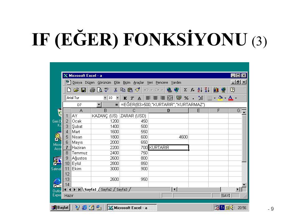 - 9 IF (EĞER) FONKSİYONU (3)