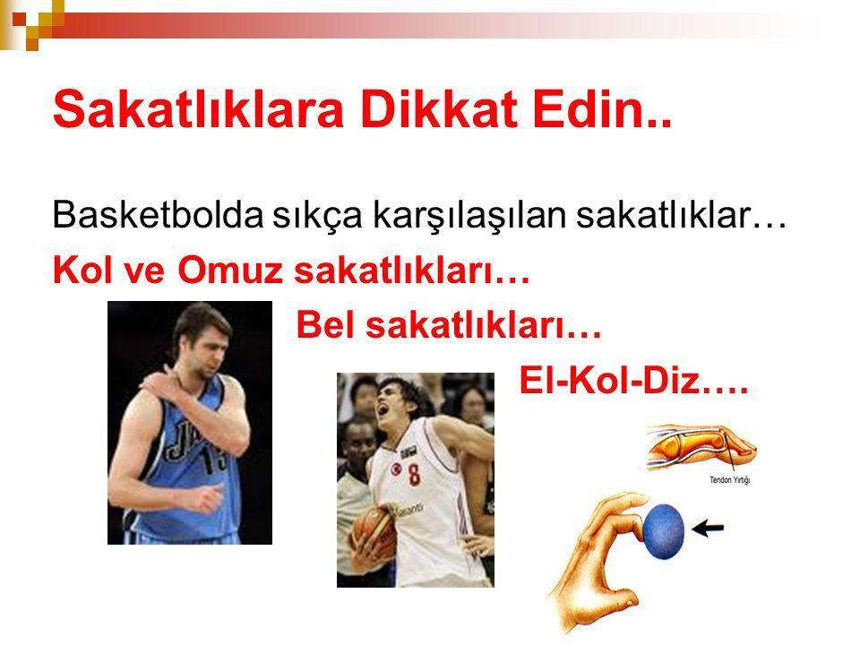 Sakatlıklara Dikkat Edin.. Basketbolda sıkça karşılaşılan sakatlıklar… Kol ve Omuz sakatlıkları… Bel sakatlıkları… El-Kol-Diz….