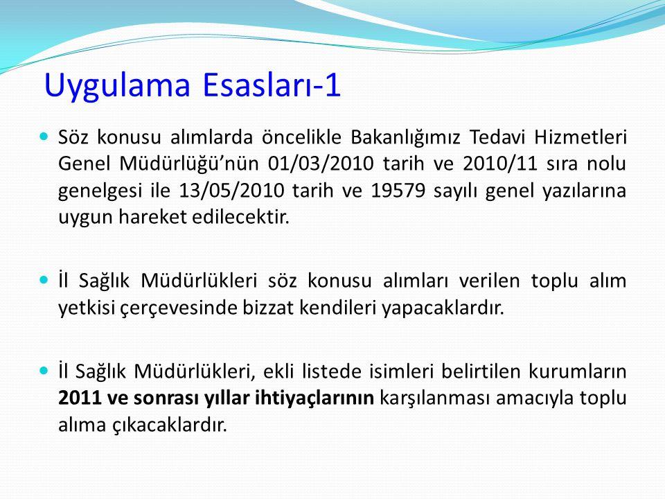 Uygulama Esasları-1 Söz konusu alımlarda öncelikle Bakanlığımız Tedavi Hizmetleri Genel Müdürlüğü'nün 01/03/2010 tarih ve 2010/11 sıra nolu genelgesi