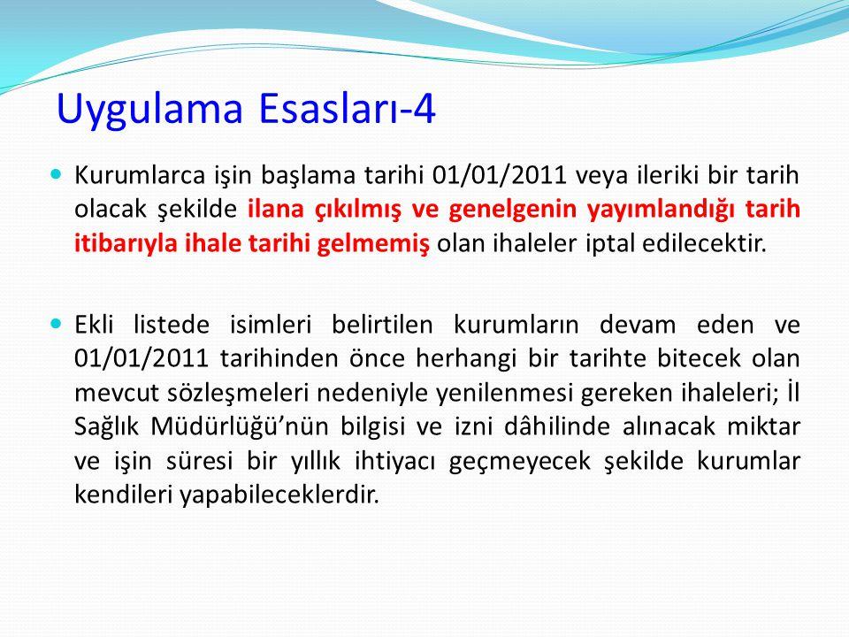 Uygulama Esasları-4 Kurumlarca işin başlama tarihi 01/01/2011 veya ileriki bir tarih olacak şekilde ilana çıkılmış ve genelgenin yayımlandığı tarih it