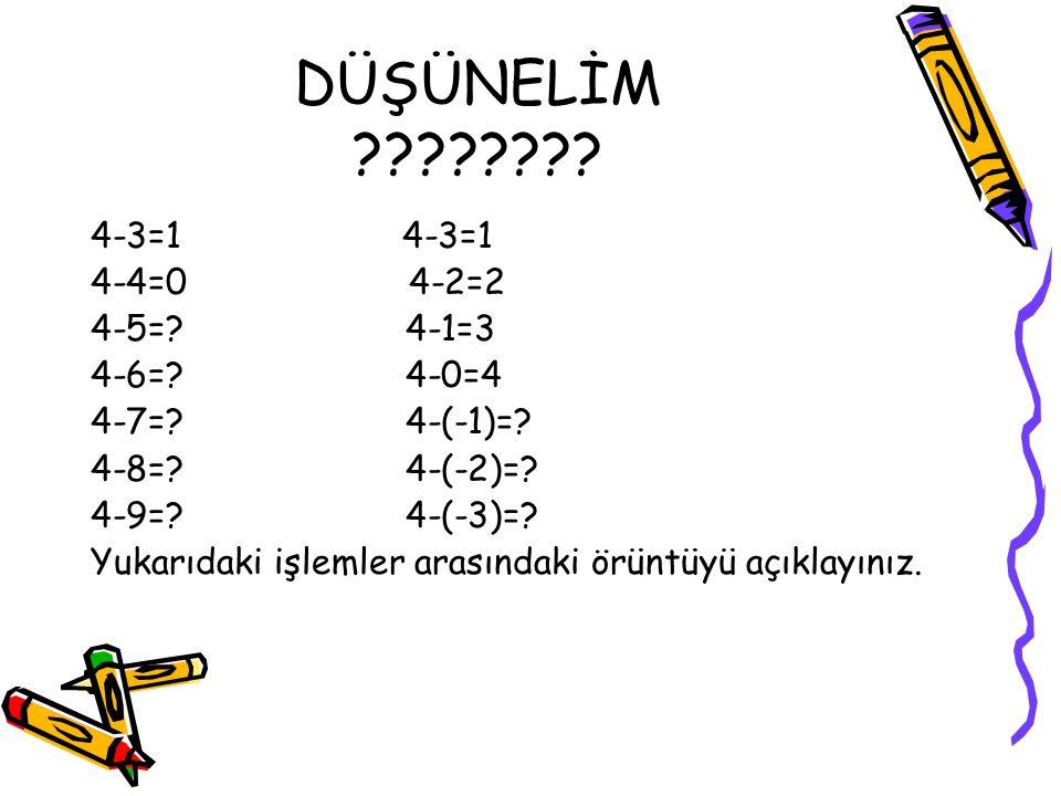 DÜŞÜNELİM ???????? 4-3=1 4-4=0 4-2=2 4-5=? 4-1=3 4-6=? 4-0=4 4-7=? 4-(-1)=? 4-8=? 4-(-2)=? 4-9=? 4-(-3)=? Yukarıdaki işlemler arasındaki örüntüyü açık