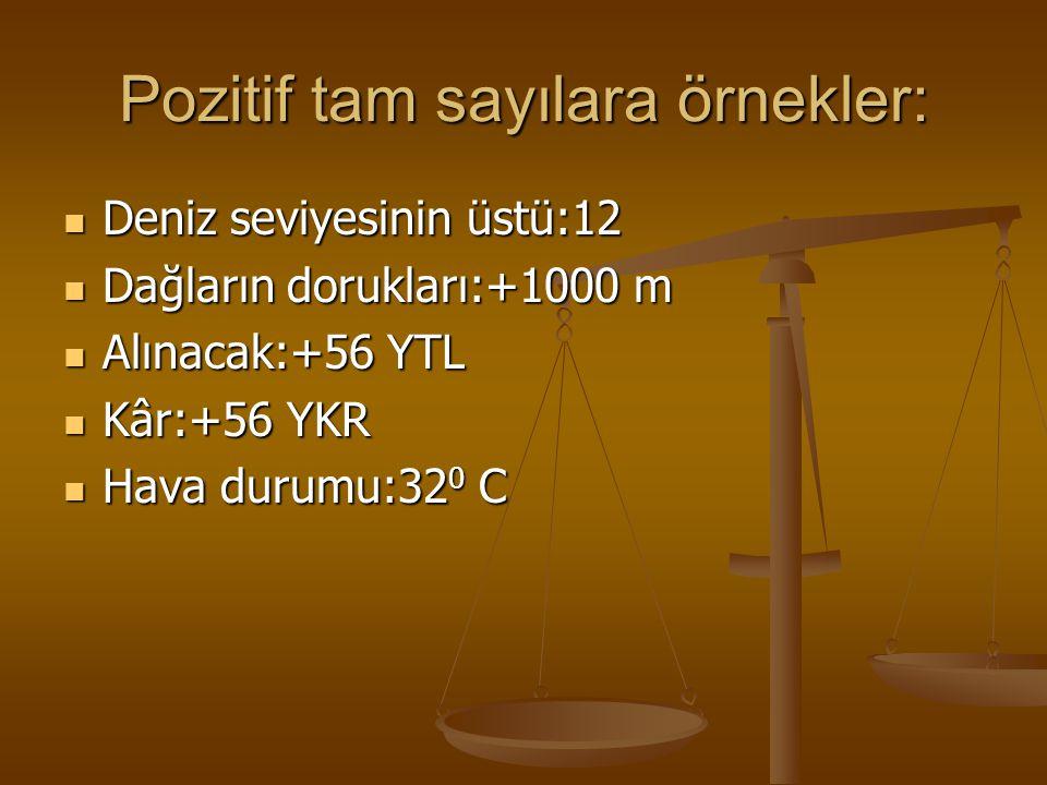 Pozitif tam sayılara örnekler: Deniz seviyesinin üstü:12 Deniz seviyesinin üstü:12 Dağların dorukları:+1000 m Dağların dorukları:+1000 m Alınacak:+56