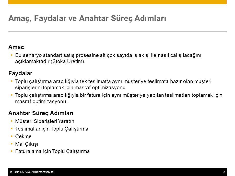©2011 SAP AG. All rights reserved.2 Amaç, Faydalar ve Anahtar Süreç Adımları Amaç  Bu senaryo standart satış prosesine ait çok sayıda iş akışı ile na