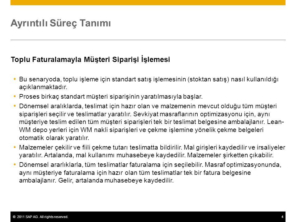 ©2011 SAP AG. All rights reserved.4 Ayrıntılı Süreç Tanımı Toplu Faturalamayla Müşteri Siparişi İşlemesi  Bu senaryoda, toplu işleme için standart sa