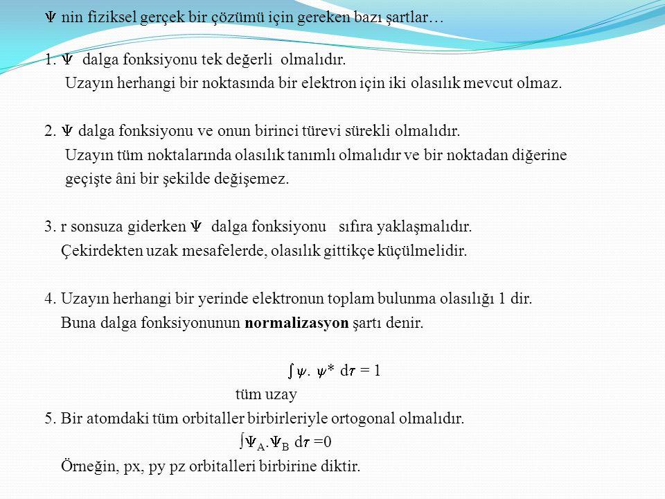  nin fiziksel gerçek bir çözümü için gereken bazı şartlar… 1.  dalga fonksiyonu tek değerli olmalıdır. Uzayın herhangi bir noktasında bir elektron i