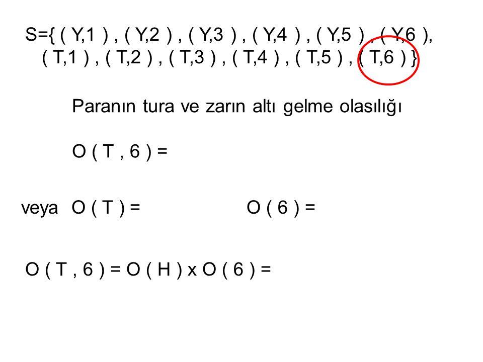 KURAL: A ve B bağımsız olaylar ise O ( A ve B ) = O ( A ) x O ( B )