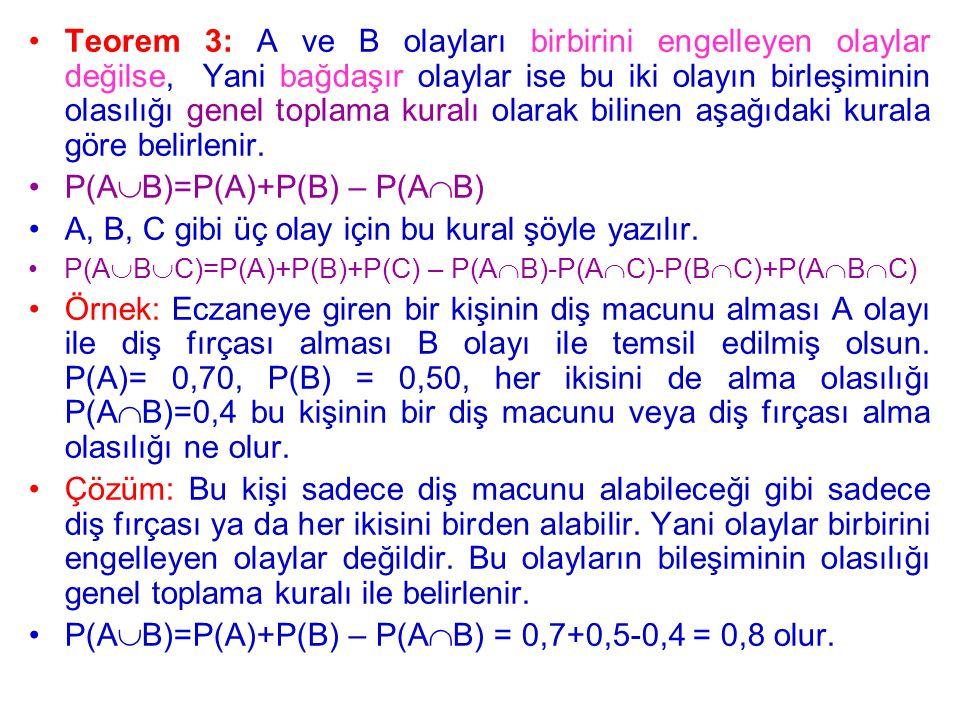Teorem 3: A ve B olayları birbirini engelleyen olaylar değilse, Yani bağdaşır olaylar ise bu iki olayın birleşiminin olasılığı genel toplama kuralı olarak bilinen aşağıdaki kurala göre belirlenir.